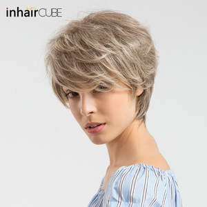 Wigs CUBE Human-Hair Synthetic-Blend Breathable Short for Women Fluffy Ombre Wig-Cap