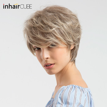 INHAIR CUBE Synthetic Blend Wigs Natural Wave Short for Women Fluffy Ombre Human Hair Wig Breathable Cap