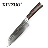 XINZUO 7 inches Santoku Knife Japanese Chef Knife VG10 Steel Core Damascus Steel Kitchen Knives Cooking Tools Pakka Wood Handle