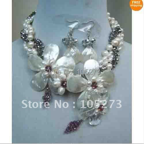 Classic!19'inchs Flower Necklace AA 7MM-25MM White Color Genuine Pearl+Gary Crystal Wholesale Necklace New Free shipping FN464
