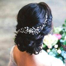 Женский головной убор ручной работы с бусинами и цветами, роскошные свадебные аксессуары для волос, жемчужные украшения для волос, свадебные гребни для невесты