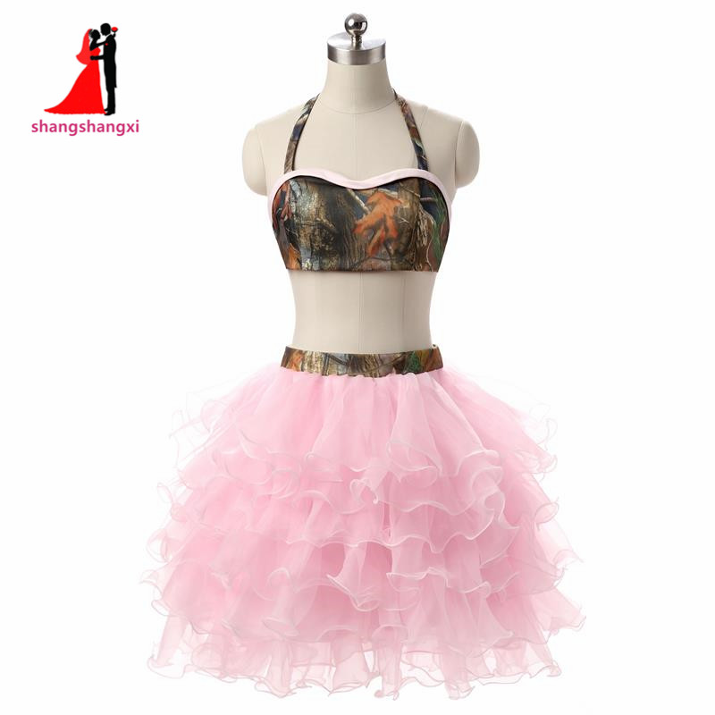 Short Prom Dress Homecoming Dresses Halter 2 Piece Backless ...