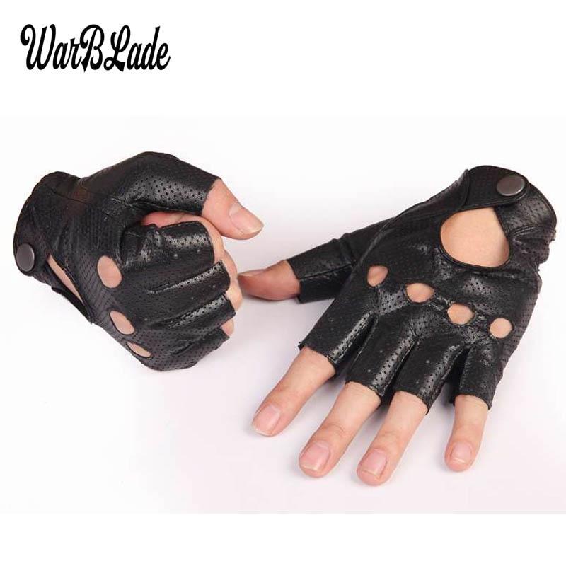 WarBLade Black PU Leather Gym Gloves Half Finger Sport Driving Show Women Gloves Punk Jazz Fingerless Mittens Guantes Luva