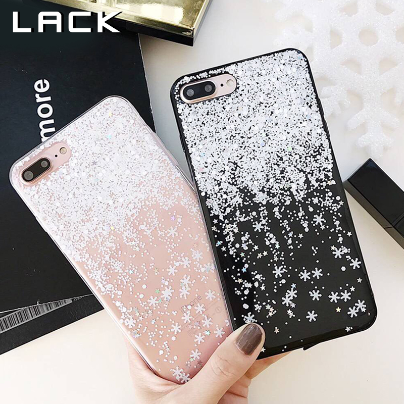 Galleria fotografica LACK Lovely Snowflake Phone Case For iphone 6 Case For iphone 6S 7 8 PLus X Back Cover Fashion Glitter Bling Paillette Cases