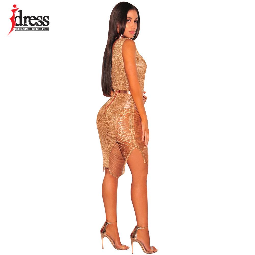 IDress 2017 Sexy Deep V Neck Hollow Out Golden String Knitting Summer Bodycon Women Dresses Sleeveless Mini Club Dress Vestidos (1)
