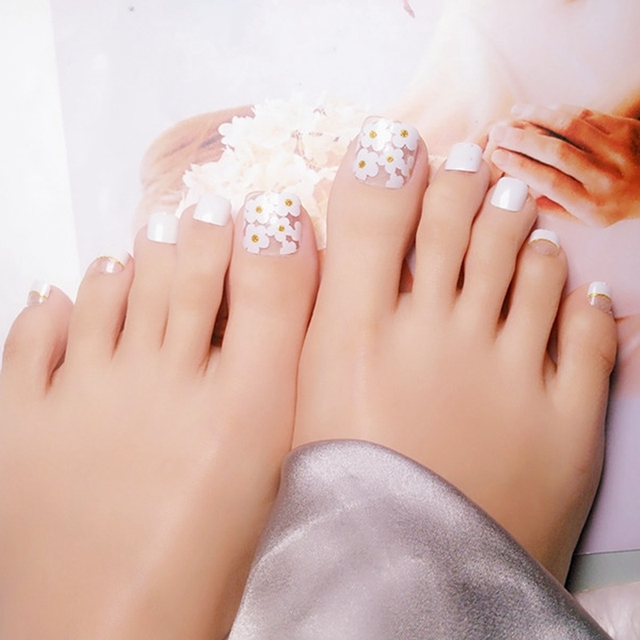 Clear French False Nails White Plum Flower Fake Toe Flat Top Acrylic Nail Tip Manicure