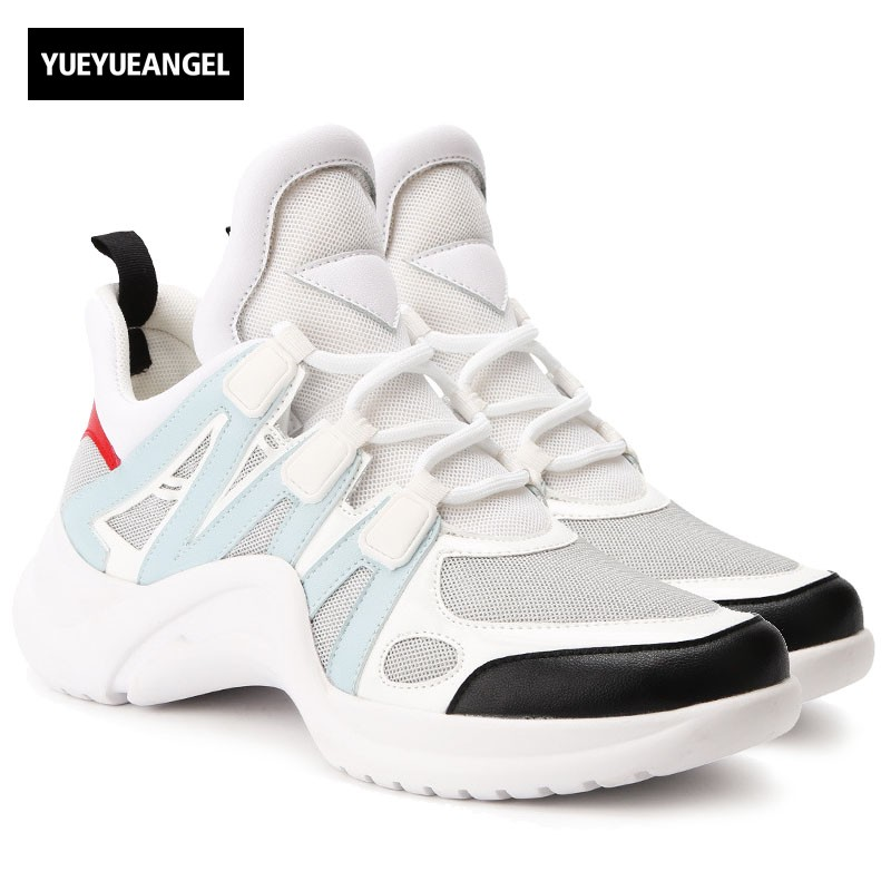 Brand Women Trainer High Top Sneakers Thick Platform Casual Streetwear Color Mixed Breathable Joggers Tenis Shoes Woman Pumps
