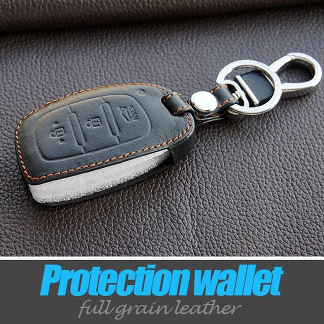 Leather Car Key Fob Set Skin Covers Case Keyring Holder For Hyundai Motor Sonata Ix35 Avante Porter Grandeur Santafe Smart Keys