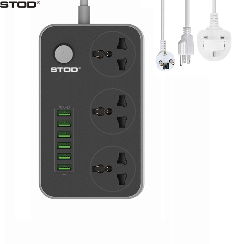 STOD Multi Port Home Charger 6 USB 17W 3 AC Zásuvka Zásuvka 2500Watt Power Strip pro iPhone iPad Smartphone Tabulka PC DV AC adaptér