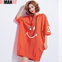 DIMANAF 2017 Women Summer Hoodies T Shirt Plus Size Pullover Letter Harajuku Style Female Casual Fashion