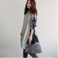 TWOTWINSTYLE Print elastic wasit tunic dress women autumn Long Sleeve O Neck Loose Irregular Hem Dresses Female casual clothes