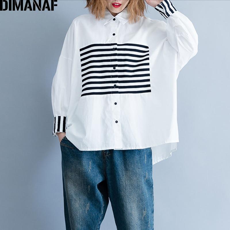 DIMANAF Women Blouse Shirt Female Basic Tops Clothes Cotton Print Striped Patchwork Casual Loose Plus Size Cardigan 2018 Autumn