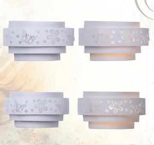 Image 2 - Modern duvar lambaları Minimalist kelebek çiçek oyma LED e27 duvar lambası, beyaz stereoskopik demir kapak ayna ön/yatak odası takımları