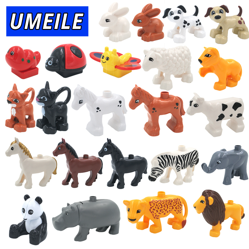 UMEILE 28 Style Original Classic Animal Zoo Big Building Blocks Kids Toys DIY Set Brick Compatible with Duplo Christmas Gift umeile original classic city engineering ladder truck fire engine model car block kids educational toys compatible with duplo