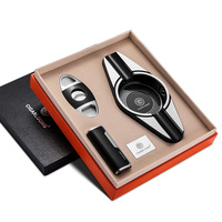 Cigar Ashtray 3 pieces set Portable Windproof Lighter with Double edge Sharpness Cigar Cutter and Ashtray CQ 0127