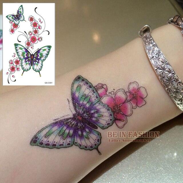 1 Pieza De Moda Color Tatuajes Temporales Pegatinas Flor Mariposa