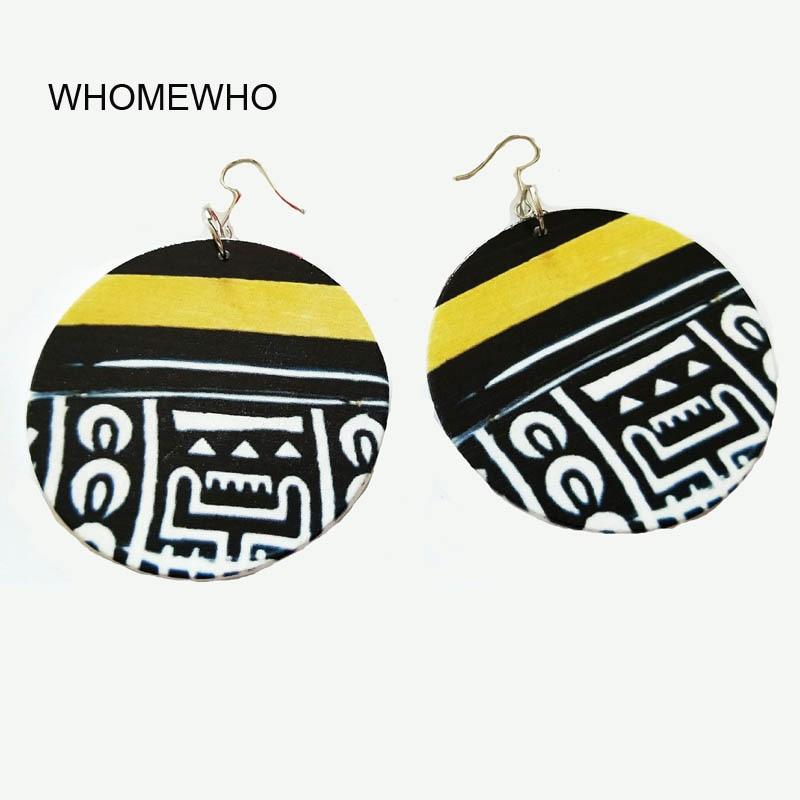 Drop Earrings Buy Cheap 60cm Wood Africa Waves Red Flower Afro Indian Rock Earrings Vintage Wooden African Hiphop Tribal Party Club Ear Silver Jewelry Earrings