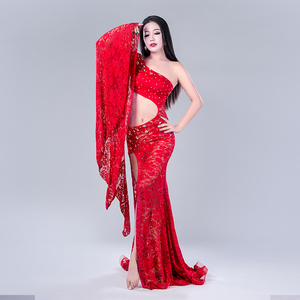 Image 5 - Modal Performance Belly Dance Lace Elegant Inclined shoulder Girl Dress Belly Dance Dresses Belly Dance Costumes Comfortable