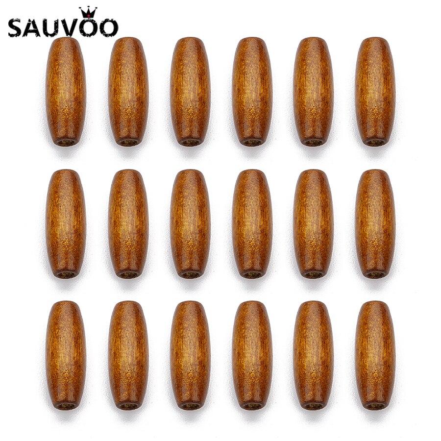 SAUVOO 100 stücke Oval Runde Perlen 8*22mm Natürliche Holz Lose Perlen Loch 3mm für DIY Männer halskette Armband Schmuck, Die Entdeckungen