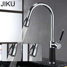 цена на JIKU Kitchen Faucets Silver Single Handle Pull Out Kitchen Tap Single Hole Handle Swivel 360 Degree Water Mixer Tap Mixer Tap