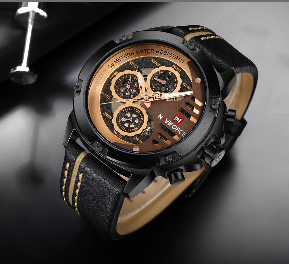 Man Watch Sport Fancy Mens Watches Top Brand Luxury Military Army Genuine Leather Quartz Male Clock NAVIFORCE 9110