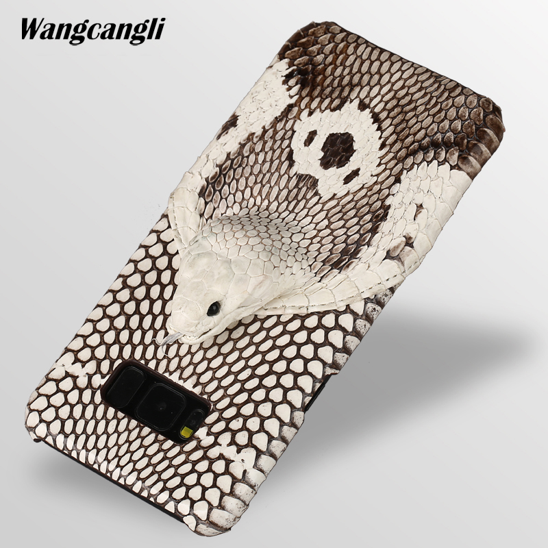 For Samsum S8 Case Phone Back Cover Protective Case Leather Phone For Samsung S9 Case Brand Genuine Snake Skin Phone CaseQ