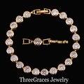 Hermosa Forma Redonda Chapado En Oro Blanco Claro Cubic Zirconia Pulseras de Diamantes Simulados Para Las Mujeres Regalo Joyería BR057
