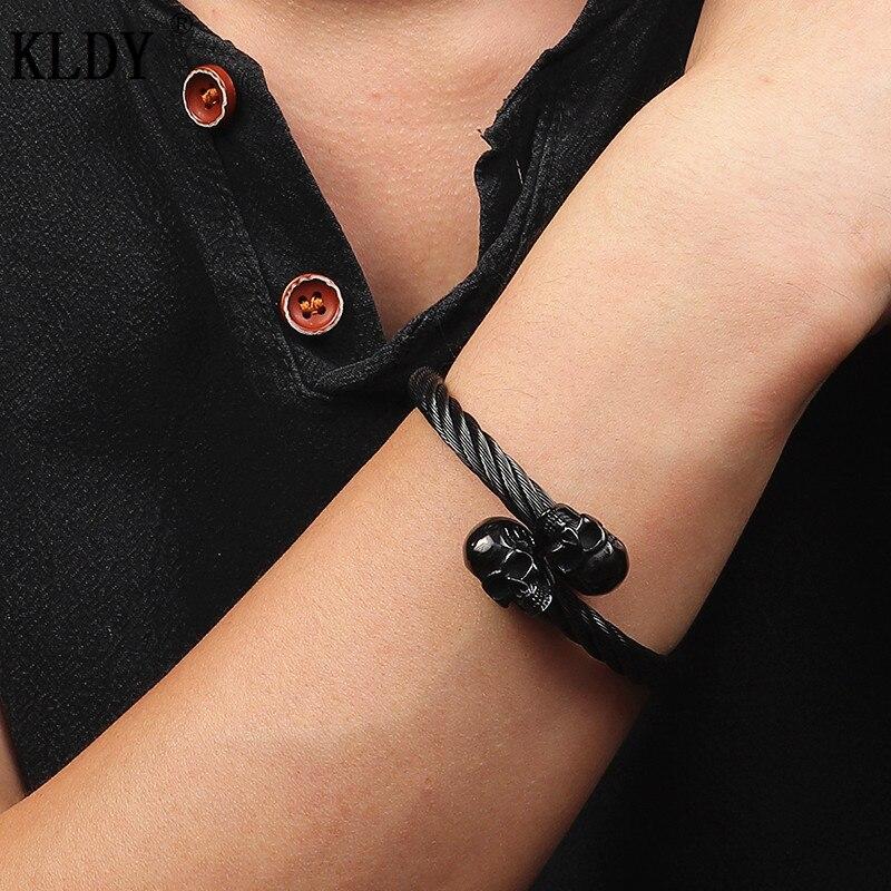 bracelet en acier inoxydable Viking tête de mort 5