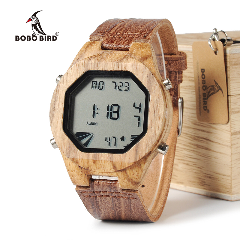 BOBO BIRD WA13 Mens Luxury Brand LED Sports Wooden Watches Casual Bamboo Wood Digital Watches Mens Multifunctional in Wood Box men s luxury brand bamboo wooden sunglasses square handmade polarized blue coating mirror eyewear in wood box as picture bs015