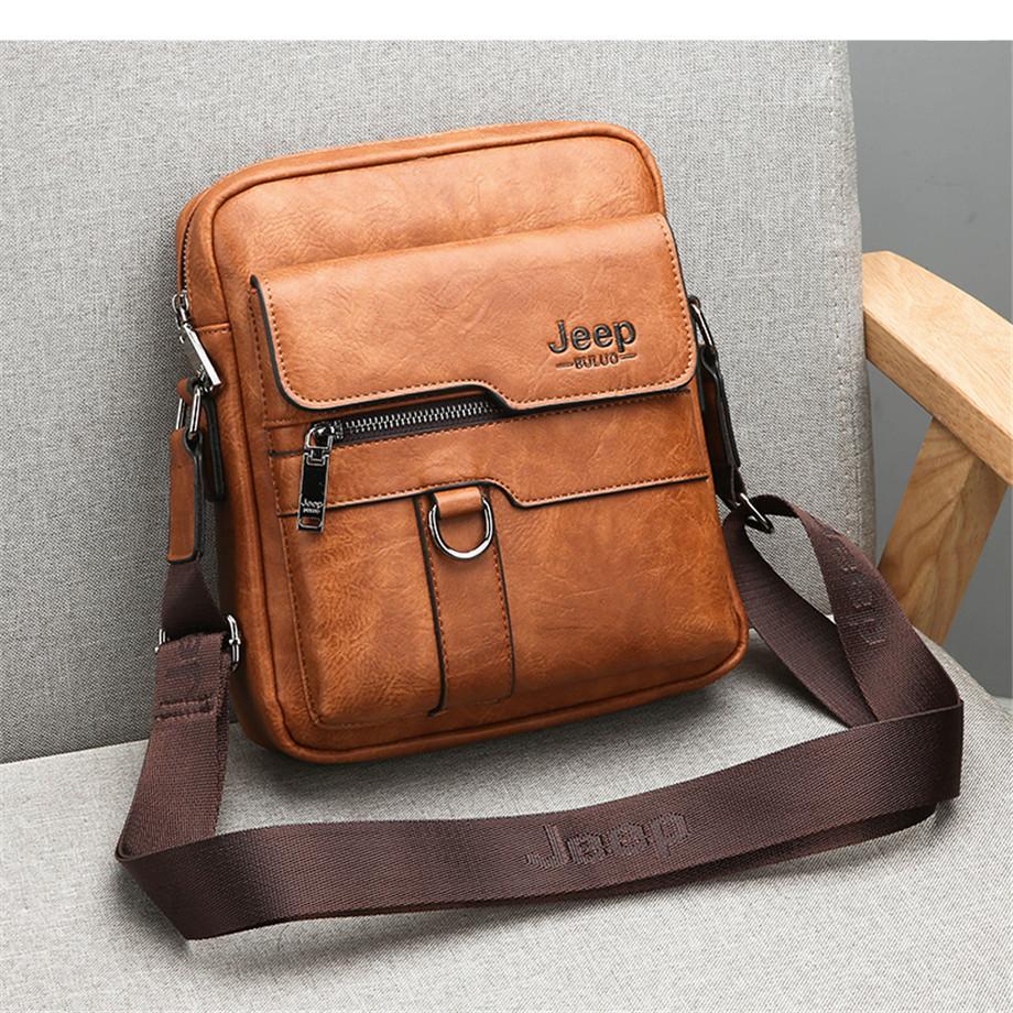 JEEP BULUO Luxury Brand Men Messenger Bags Crossbody Business Casual Handbag Male Spliter Leather Shoulder Bag Large Capacity 8
