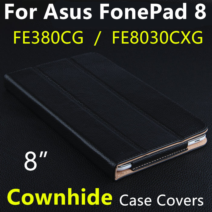 Case Cowhide For Asus Fonepad 8 FE8030CXG Protective Smart cover Protector Genuine Leather Tablet For asus FE380CG K016 Sleeve cover case for huawei mediapad m3 youth lite 8 cpn w09 cpn al00 8 tablet protective cover skin free stylus free film