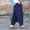 De las mujeres Retras de Invierno primavera Harem Flojo Pantalones de Pana Ocasional de La Vendimia Más tamaño Mediados de cintura elástica de color Sólido Espesar trousers2016