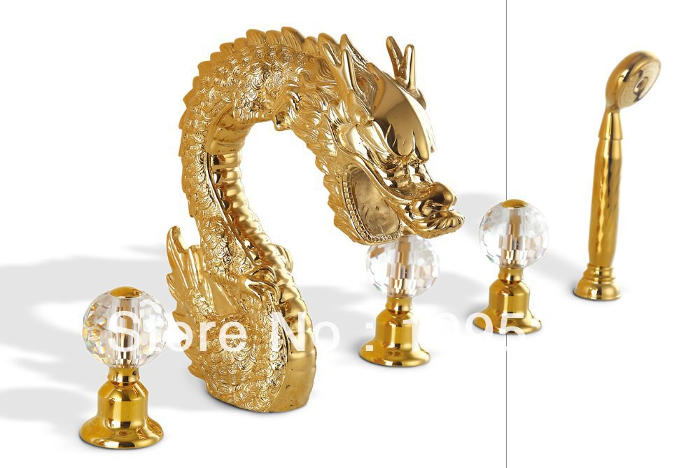 7 Faucet Finishes For Fabulous Bathrooms: Free Shipping PVD GOLD Finish 5pcs Dragon Bathtub Faucet