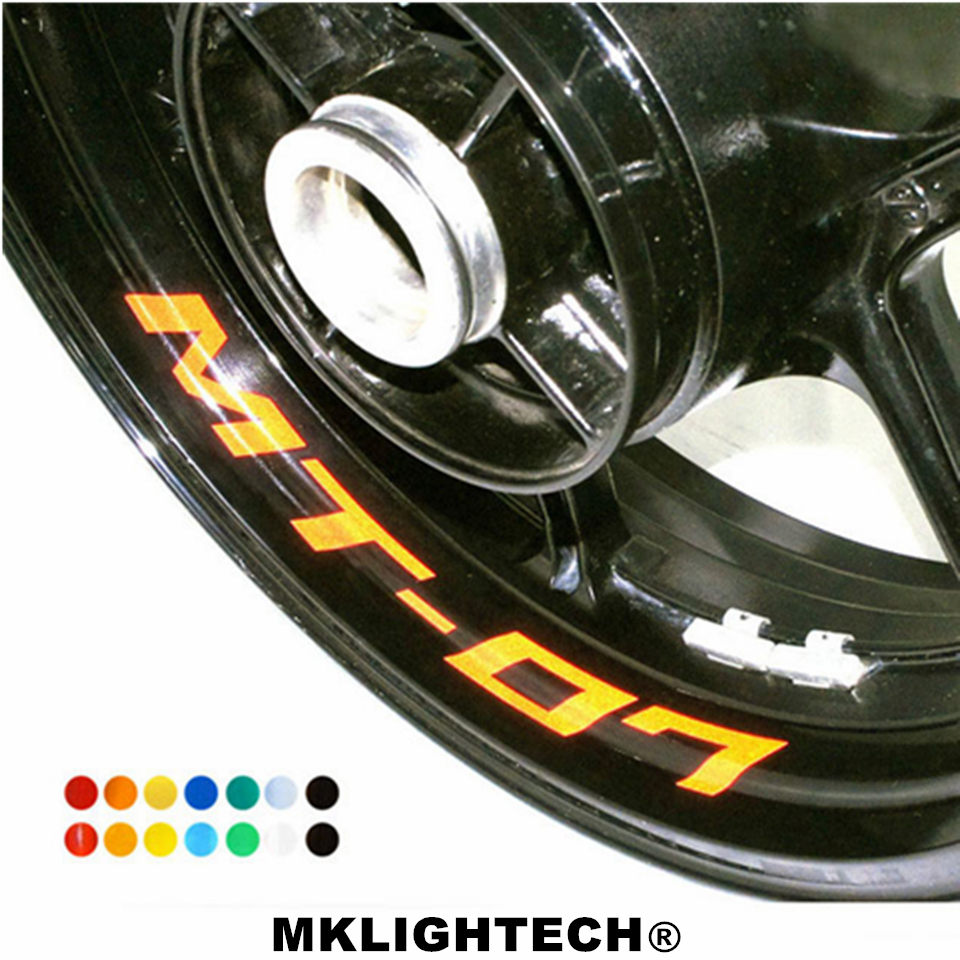 MKLIGHTECH seven colors 8X custom inner rim sticker wheel reflective sticker strip fit YAMAHA 07 MT 07 in Decals Stickers from Automobiles Motorcycles