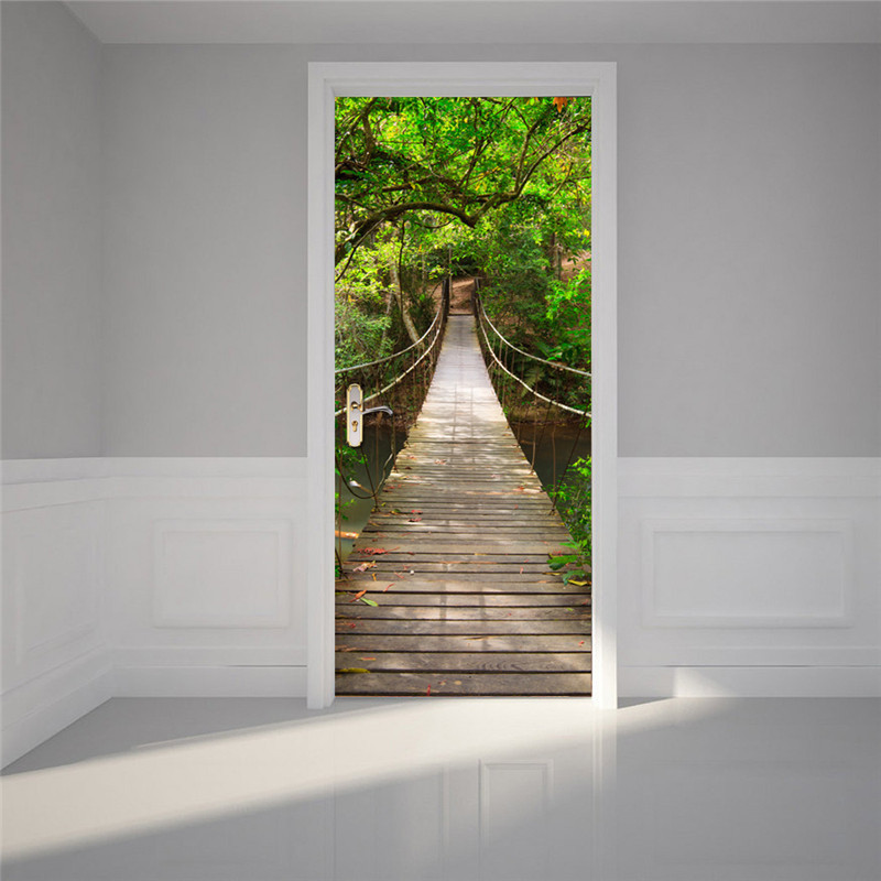 Image 5 - Wooden Brifge In The Forest Beach DIY 3D Door Sticker for Bath Room Dorm Door Home Decoration Accessories Large Size Hot Sale-in Wall Stickers from Home & Garden