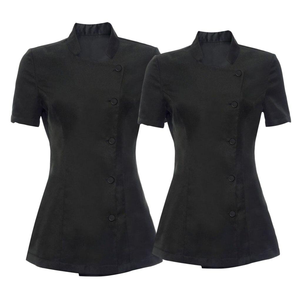 2pcs Womens Black SPA Beauty Salon Beautician Tunic Nail Massage Therapist Uniform