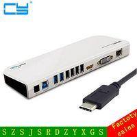 Бесплатная доставка USB 3.1 Тип c USB C Универсальная док станция 7 Порты и разъёмы концентратора и HDMI и VGA и LAN и аудио