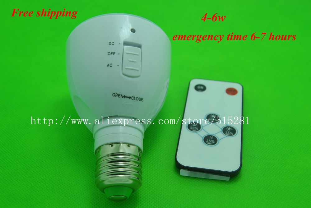 Multi-functional Rechargeable LED Emergency 4-6w 220v Light Bulb lamps E27 flashlight with remote controller Free Shipping