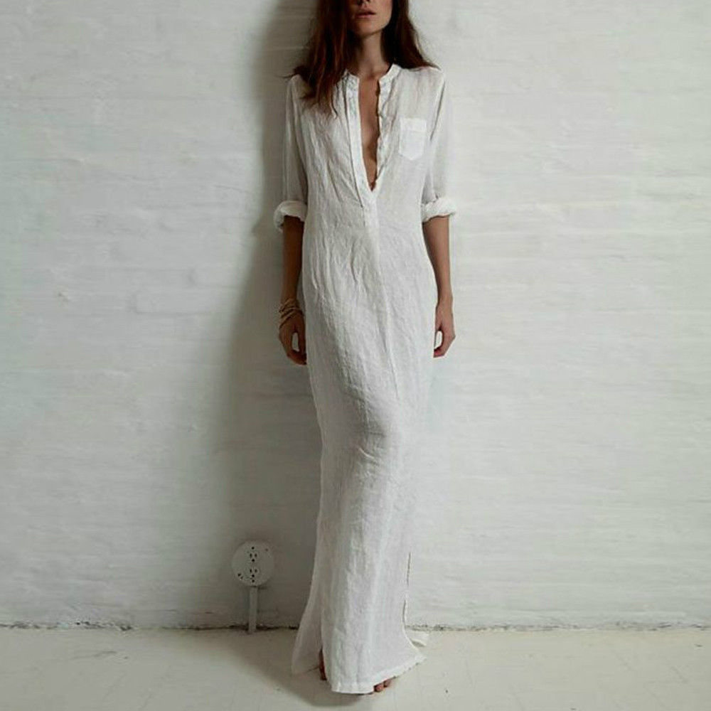 f2d602ce3 2017 Autumn Shirt Dress Women Boho Beach White Long Maxi Dresses Casual  Loose Cotton Linen Dress Long Sleeve Summer Vintage Robe-in Dresses from  Women s ...
