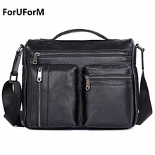 ForUForM Men Fashion Genuine Leather Zipper Shoulder Crossbody Bag Men's Travel Bags Messenger Leather Bag Man Handbag LI-1912
