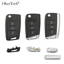 Okeytech 3 Buttons Remote Car Key Shell Case Cover Fob For Volkswagen Passat Golf 7 MK7 Skoda Seat Leon For Skoda Octavia(China)