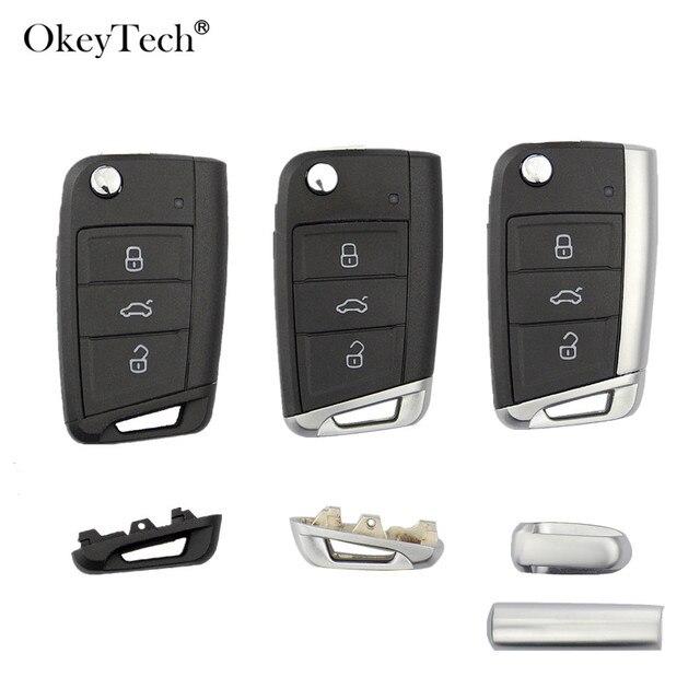 Okeytech 3 botones Remote Car Key Shell funda Fob para Volkswagen Passat Golf 7 MK7 Skoda asiento León para skoda Octavia