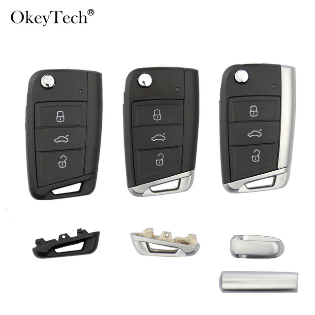 Okeytech 3 botones remoto coche clave Shell caso cubierta Fob para Volkswagen Passat Golf 7 MK7 Skoda Seat Leon para skoda Octavia