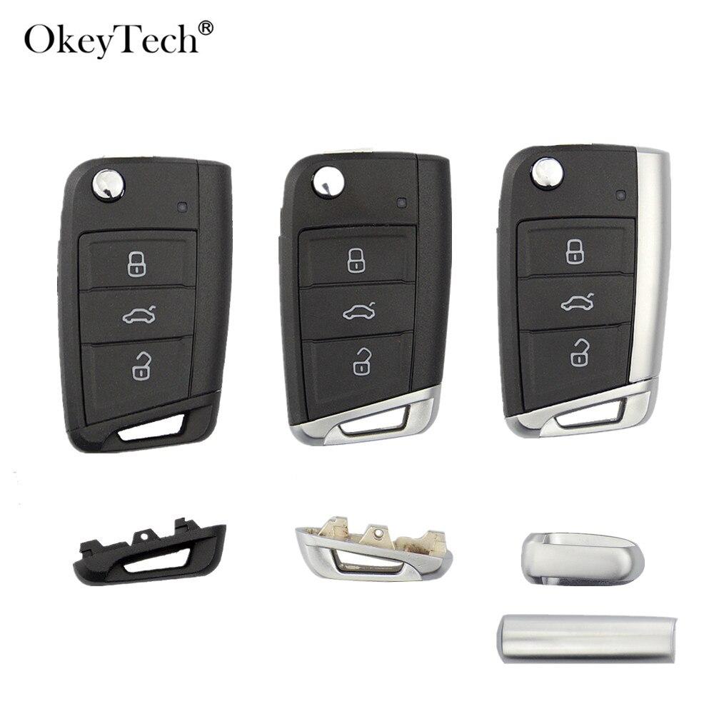 Okeytech 3 boutons télécommande voiture clé coque housse Fob pour Volkswagen Passat Golf 7 MK7 Skoda Seat Leon pour Skoda Octavia