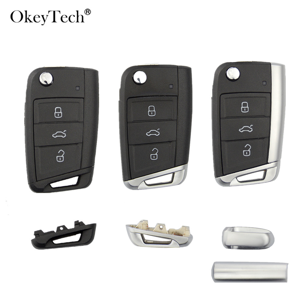 WOQUi Silicone Cover Skin Jacket For VOLKSWAGEN SKODA SEAT 3 Button Flip Remote Key