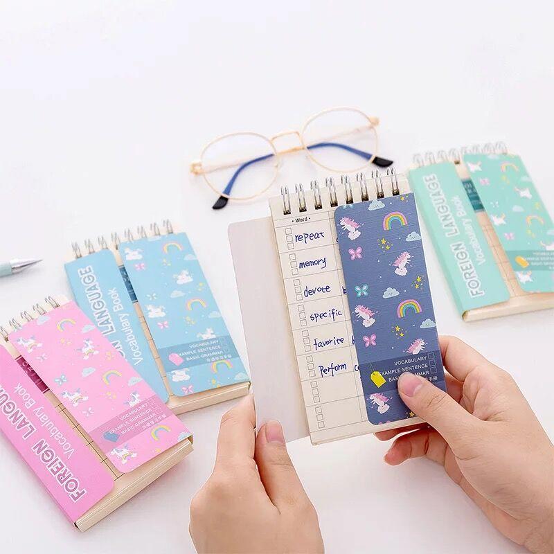Kawaii Cartoon Unicorn Pocket Students Vocabulary Notebook English Word Cards Study Memo Notes Pads Writing Reciting Book