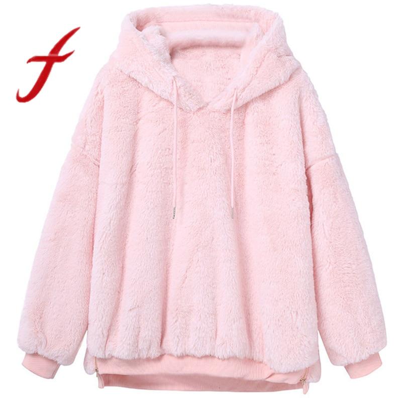 Sweatshirt Women Winter Warm Fluffy Plush Sweatshirts Hoodies Causal Fleece Fur Sweatshirt Pullover Tops Moletom Feminino Tumblr