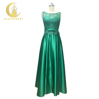 Professional New Arrival Stock Dress Lace with Satin Backless Lace up Floor Length Prom Dresses Evening Dress 2017
