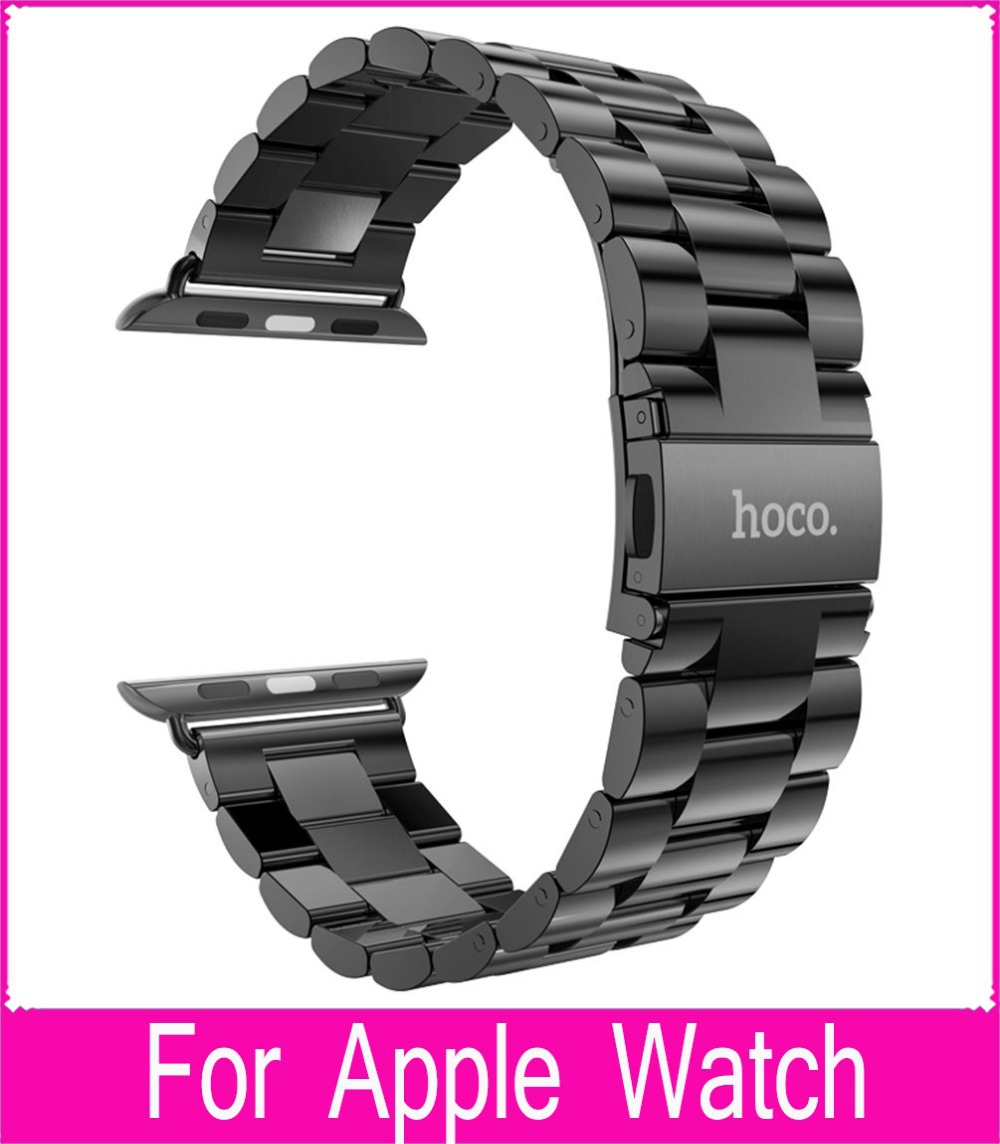 10pcs DHL For HOCO Apple Watch Bands 42mm 38mm Black Stainless Steel Strap Classic Buckle Adapter for Apple watch Sport/Edition