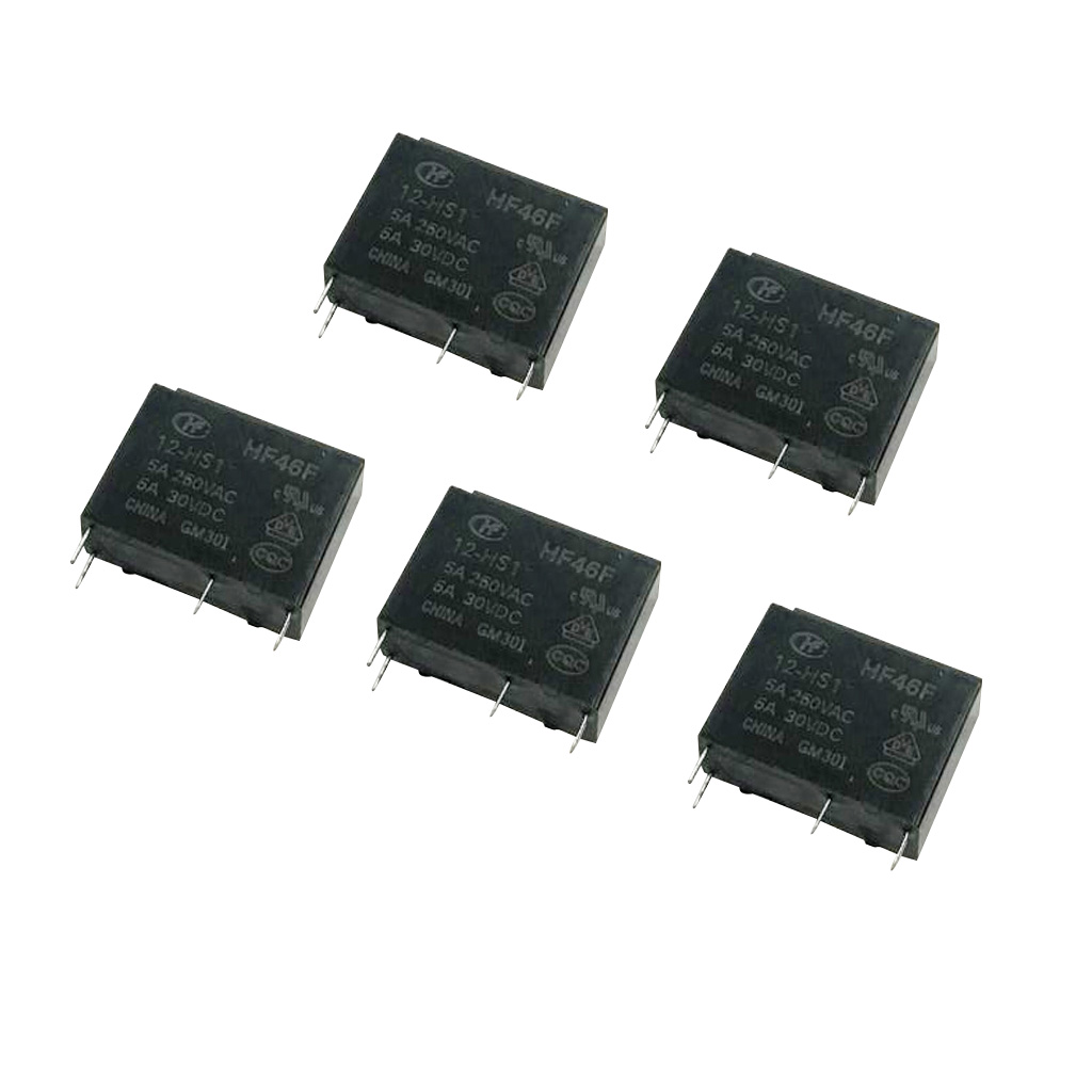 5 Pieces HF32F Mini DC 12V Coil Power Relay 4 Pin PCB Type Black Automobile Relay